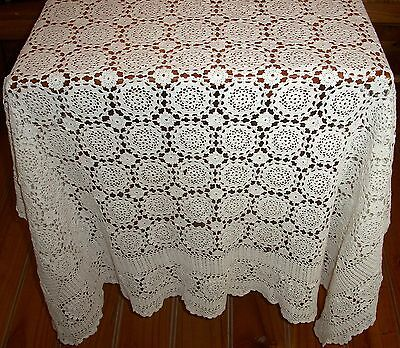 Vintage White Cotton Hand Crocheted Lace Squares Motif Tablecloth