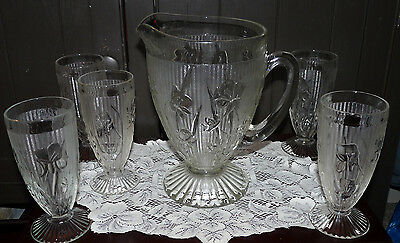 Vintage Exc Cond Jeannette Glass 56 oz Iris & Herringbone Pitcher w/5 Tumblers