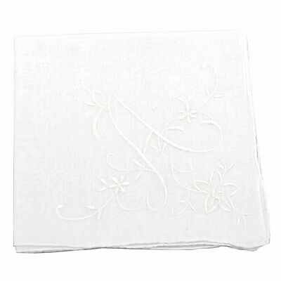 White Cotton Handkerchief with Large Monogram Embroidery
