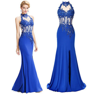 Long Backless Bridesmaid Evening Formal Gown Party Cocktail Prom MAXI Lace Dress