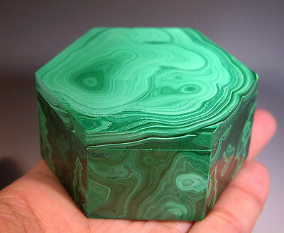 "2.75"" Large Hand Carved Malachite Jewelry Box Lapidary Carving - Christmas Gift"