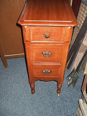 Walnut Night Stand Vintage Antique Art Deco William Mary 3 drawer