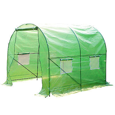 Outsunny 8'×6.6'×6.6' Round Walk-in Tunnel Greenhouse Plant Shed Garden Portable