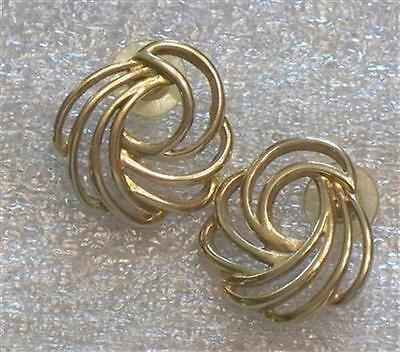 Vintage Open Work Gold Tone Pierced Earrings    H88