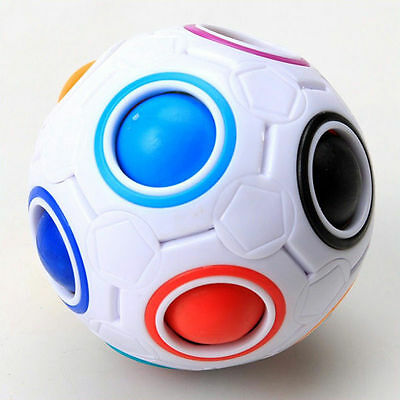 Rainbow and White Spherical Ball Shaped Magic Cube Speed Puzzle Toy Gift