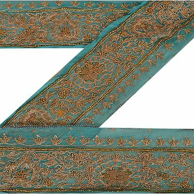 Vintage Sari Border Antique Hand Beaded 1 YD Indian Trim Sewing Blue Lace
