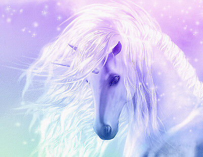 "Beautiful Fantasy Unicorn flowing mane pink CANVAS ART PRINT  8""X 10"" horse"