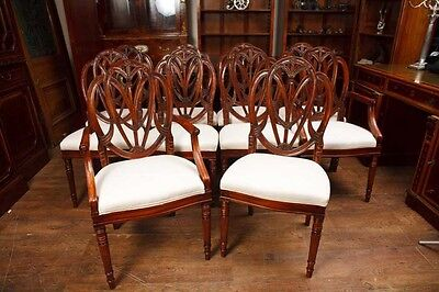 Set Mahogany Hepplewhite Dining Chairs Furniture Carved Seats