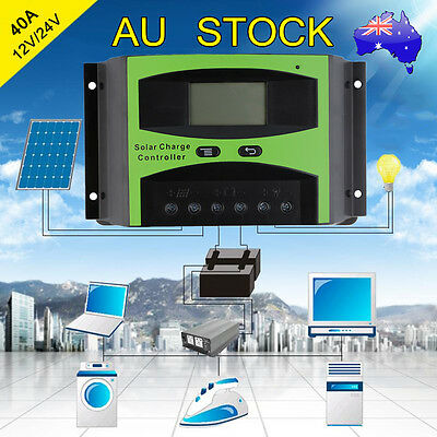 40A 12V/24V LCD Solar Panel Battery Regulator Charge Controller Auto PWM ##de