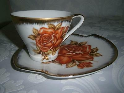 Vintage Orange Rose & Gold DUO Cup & Saucer  Fine China... Made in Japan