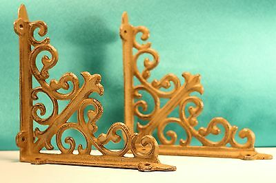 "2 Vintage Cast Iron Shelf Bracket Set 6"" x 6"" Ornate Antique Style"