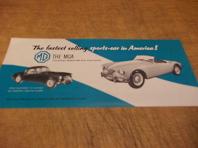 "1950's MGA two sided dealer brochure, 4"" x 9"""