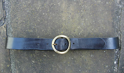 Narrow Black Leather Belt womens with matte gold circular metal buckle