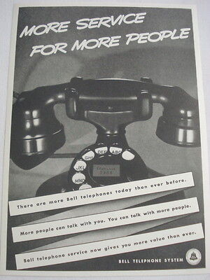 """1938 Ad Bell Telephone System """"More Service for More People"""""""