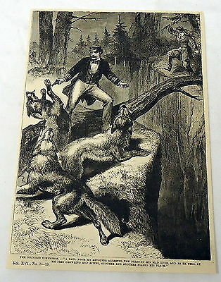 1883 magazine engraving ~ MAN FENDING OFF WOLVES