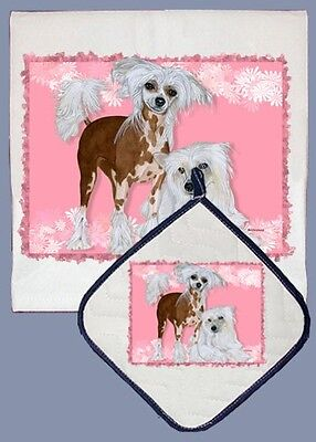 Dish Towel & Pot Holder - Chinese Crested DP598 IN STOCK