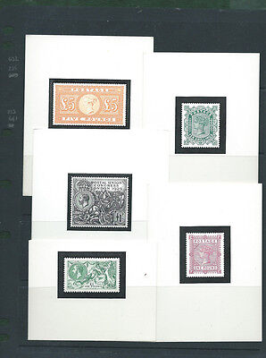 Lovely lot of 5 reproductions on card of classic GB stamps