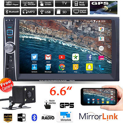 """Car Stereo Radio MP3 MP5 Player 6.6"""" 2 DIN Bluetooth Touch FM USB TF AUX +Camera"""