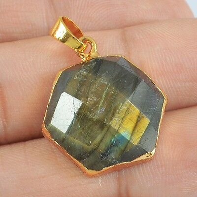 Hexagon Natural Labradorite Faceted Pendant Bead Gold Plated H81848