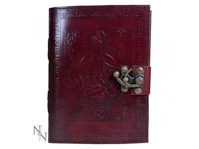 new Embossed Leather Double Pentagram Journal Book of Shadows boxed