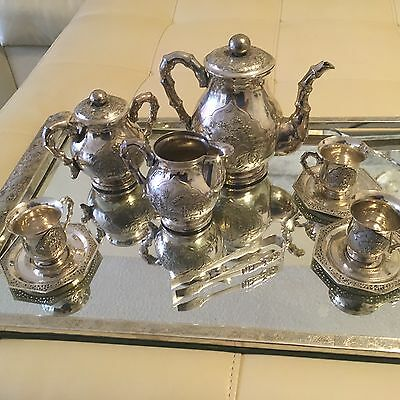China Chinese sterling silver tea set with tray for three guests