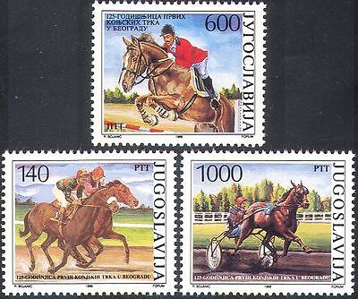 Yugoslavia 1988 Horse Racing/Jumping/Trotting/Horses/Animals/Sports 3v (n28067)