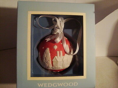 New Wedgwood Raised Jasperware Christmas Ornament Red with box wedgewood