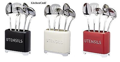 KitchenCraft Lovello Utensils Tins in Black, Red or Cream