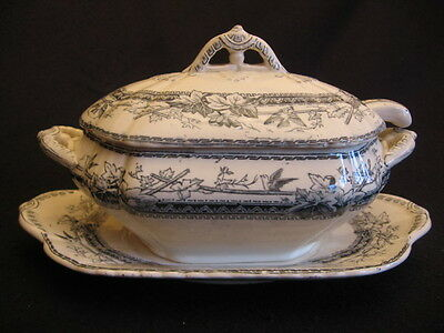 "Victorian Edge,malkin & Co 'natal' Petrol Blue 8.5"" Sauce Tureen Set 1873-91"