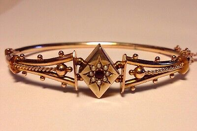 BEAUTIFUL ANTIQUE VICTORIAN  9ct ROSE GOLD PEARL & RUBY HINGED BRACELET - 8g
