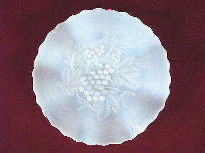 Milk Glass Plate with Grapes, Leaves and Vines