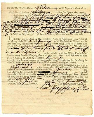 1755 Colonial Document Windham Connecticut Summons For Not Attending Church
