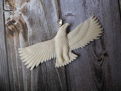 Pendant Necklace Flying Eagle from Buffalo Bone Carved with Silver Bail 925_w376