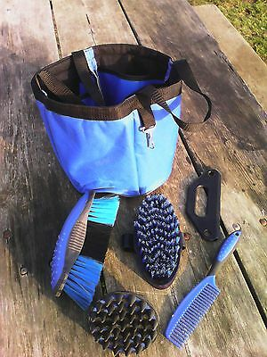 Blue horse grooming caddy/tote w/5 piece grooming kit