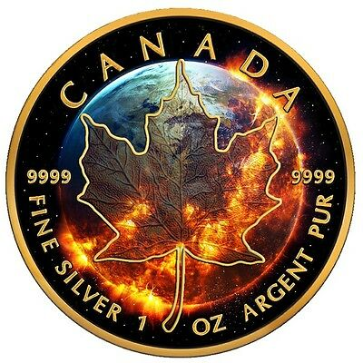 Canada 2016 5$ Black Maple Leaf  Apocalypse 2016 Black Ruthenium 1 Oz Silver Coi