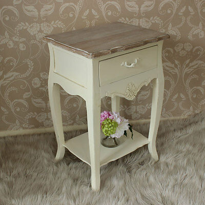 cream bedside table storage cabinet country style bedroom furniture painted chic