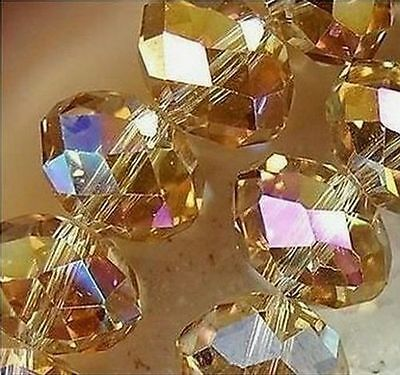 70pcs Amber Colors Jewelry Faceted Crystal beads 6x8mm