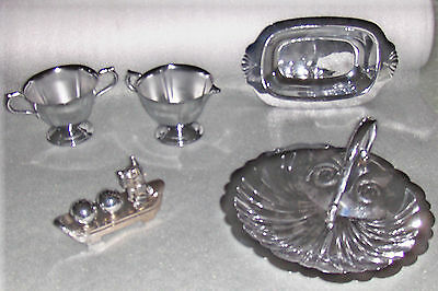 Vintage Lot CHROME Farberware, Continental Dishes, Shakers, Sugar & Creamer