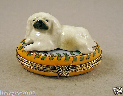 New Hand Painted French Limoges Box Pekingese Dog Puppy On Green Leaves Box