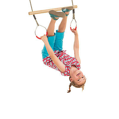 Wooden Trapeze bar with Steel rings for kids Climbing Frame or Swing gymnastics