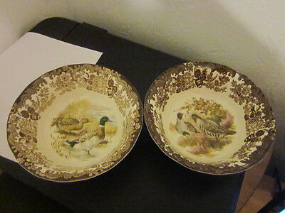 Royal Worcester Palissy Game Series ~ 2 Cereal Bowls - Dishes ~ Ducks & Quail