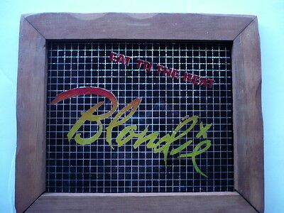"""1980S Blondie, Eat To Beat, Carnival Prize Painted Glass Hanging Frame,10"""" X 12"""""""