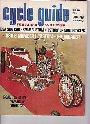 Cycle Guide Magazine Motorcycle Magazine AUGUST 1969 AUG