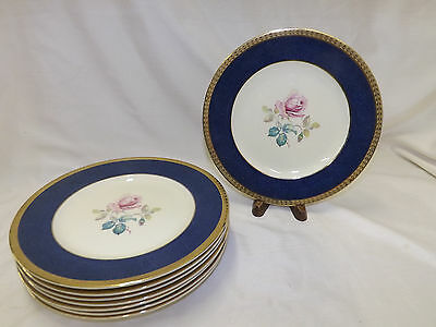 Burleigh Ware 8 Luncheon Plates Wide Blue Band Gold Edge Rose Center Design