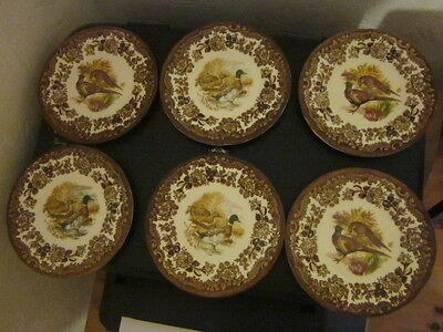 ROYAL WORCESTER PALISSY GAME SERIES ~ 6 tea plates ~ 5 3/4 INCHES ~ DUCKS/PHEAST