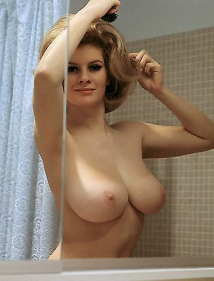 60s Nude pinup in bathroom mirror imposing D breasts 8 x 10 Photograph
