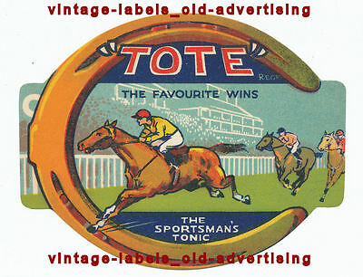 STUNNING VINTAGE OLD TOTE HORSE RACE & JOCKEY OLD POP or SODA LABEL