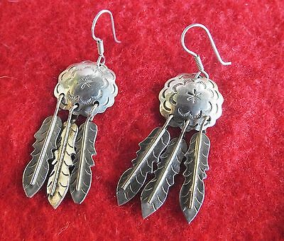 Taxco Mexico  Tv-42 Sterling Silver 925 Two Tone Concho Feather Earrings