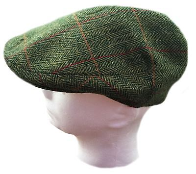 Hand Tailored Tweed Garforth Flat Cap Loxley Green Herringbone MADE IN YORKSHIRE