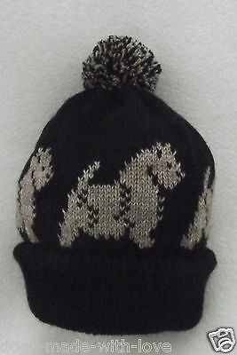 CAIRN TERRIER dog Knitted beanie pompom bobble ADULT size DARK BROWN HAT